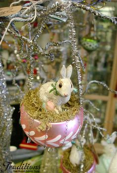 A beautiful vintage Easter ornament hung on our glittered silver tree.