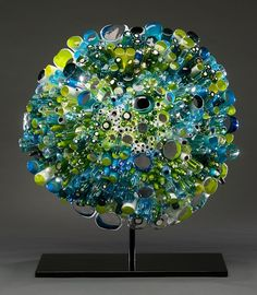 "Marsha Blaker-DeSomma, Artist, Bait Ball, 2012, blown, cut and fused glass 15""h x 13""w x 6""d #ArtonTap #PurelyInspiration"