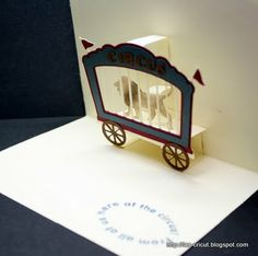 Circus card for Father's Day - Everyday Pop-Up Cards - Cricut Forums 3d Paper Art, Paper Pop, Pop Up Tunnel, Book Crafts, Paper Crafts, Carnival Invitations, Cricut Cards, Circus Theme, Fathers Day Cards