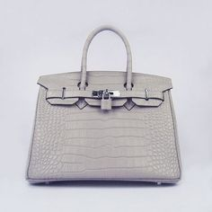 Hermes Birkin 30CM Big Crocodile Grey Silver Hardware Bag