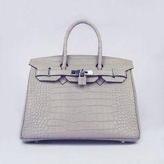 Hermes Birkin 30CMBig Crocodile Grey Silver Hardware Bag