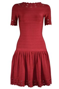 Herve Leger A-LINE Cutouts Short Sleeve Bandage Wine Dress