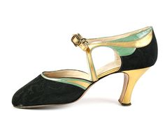 1920s Delman Black Watered Silk Shoes Decorated with Gold and Green Leather.