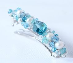blue french barrette hair clip swarovski pearls and by Phaness, $26.00
