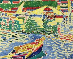 Derain, Andre (1880-1954) - 1905c. Boats in Port Collioure (Sotheby's New York, 2009)  Oil on canvas; 60 x 73 cm.  André Derain, (b. June 10, 1880, Chatou, France—d. September 8, 1954, Garches), French painter, sculptor, printmaker, and designer who was one of the principal Fauvists.  Derain studied painting in Paris at the Académie Carriere from 1898 to 1899. He developed his early style in association with Maurice de Vlaminck, whom he met in 1900, and with Henri Matisse, who had been…