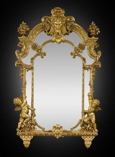 Antique French Mirror, Giltwood Mirror, Baroque Revival Double Mirror ~ M.S. Rau Antiques