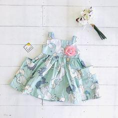Poppy Dress in Unicorn Mint Print