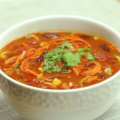 A spicy and filling soup full of delicious veggies.