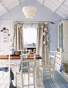 beach cottage...love the rugs...and I'm thinking about painting all my diningroom chairs....