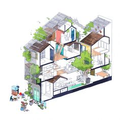 Called Saigon House, this narrow multi-storey home is located in the city of Ho Chi Minh in Vietnam. The house has been designed by local architecture Architecture Cool, Architecture Drawings, Architecture Portfolio, Casas Containers, Narrow House, Open Space Living, Architectural Section, Concept Diagram, 3d Models