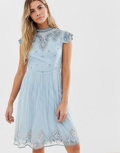 c1498cdd900 Frock And Frill high neck mini dress with allover embellishment in soft blue  Frock And Frill