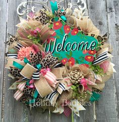 Welcome Leopard Everyday Wreath by Holiday Baubles