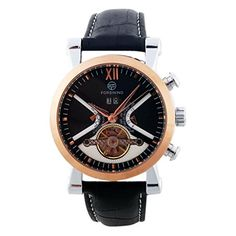 Gute Elegant Rose Gold Black Dial Mechanical Hand-wind Watch Tourbillon Day Month Wristband - Jewelry For Her
