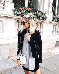 Spring Layering: Black Suede Jacket, Grey Pullover And Black Shirtdress 2019 Grunge Tattoo, Outfits Otoño, Fashion Outfits, Womens Fashion, Work Outfits, Black Suede Jacket, Leather Jacket, Outfit Invierno, Style Grunge