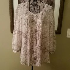 New! Talbots sheer top size 12 New without price tags.  Talbots top size 12 1/2 sleeves No iron.  Button front  Make me an offer or bundle to save even more. Talbots Tops Blouses