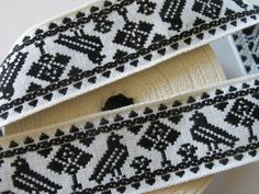 3 yards TREE and BIRD vintage Jacquard trim in black on white. 1 3/8 inch wide. V538-A. $6.60, via Etsy.