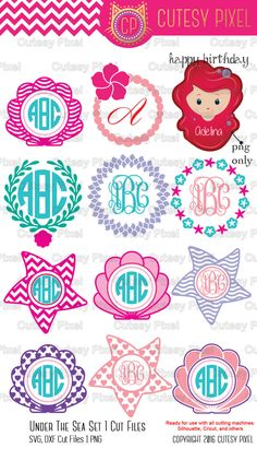 Mermaid designs SVG Cut Files for Vinyl Cutters Mermaid svg Shells svg Screen Printing Cricut and Die Cut Machines Silhouettes SVG Cricut Monogram, Monogram Frame, Monogram Design, Cricut Vinyl, Monogram Alphabet, Monogram Decal, Monogram Fonts, Silhouette Cameo Projects, Silhouette Design