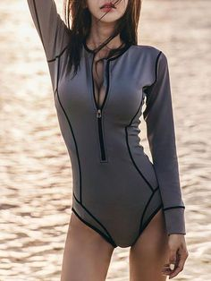 60e8304fea Roxy Women's Visual Touch Onesie Long Sleeve Rashguard #deals. See more.  Round Neck Zips Contrast Stitching Plain One Piece – ebuytide