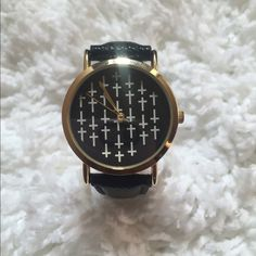 30 Min SALE! Black and Gold Watch with Crosses Brand New!! Forever 21 Accessories Watches