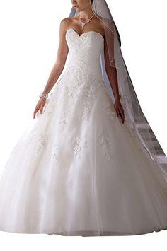 GEORGE BRIDE A-Line herzfoermiger Ausschnitt Applique Prinzessin Gaze Brautkleider Hochzeitskleider, Groesse 38, Elfenbein
