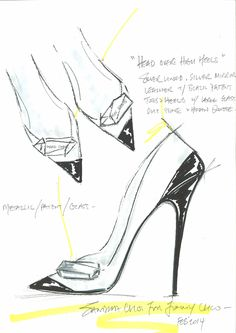 Fashion Illustrations Sketch ~ Jimmy Choo sketches for their Harrods Shoe Heaven exclusives