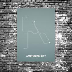 Amsterdam City C4 - Acrylic Glass Art Subway Maps (Metrokaart, Acrylglas)