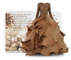 """""""She is Stronger"""" by easy-dressing ❤ liked on Polyvore featuring Graham & Brown, gown, WhatToWear, polyvoreeditorial and browngown"""