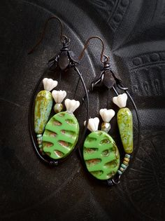 Flowers, Wire Wrapped, Hoops, Blossom Series, Glass Flowers, Artisan Made, Garden, Glass, Organic, Rustic, Unique, Beaded Earrings