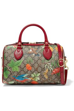 5028c5166f90 Gucci - Linea A small textured leather-trimmed printed coated-canvas duffle  bag