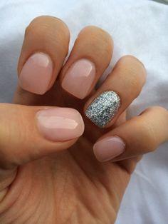 "OPI gel nail polish-"" bubble bath"" and a silver, glitter accent"