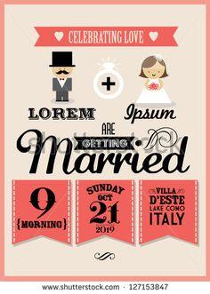 ilustração/vetor de modelo de cartão de convite de casamento