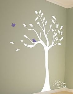Simple and pretty tree stencil. I'd get rid of the birds - I'm already enough of a Brooklyn cliche.