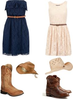 Country outfit by mjvaagene on Polyvore love the dresses but they need cuter boots to go with them