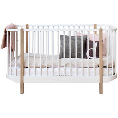 Oliver Furniture Wood Cot Oak (1,280 CAD) ❤ liked on Polyvore featuring home, children's room, children's furniture, nursery furniture, bed and brown