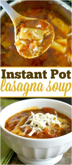 OH MY this Instant Pot lasagna soup is amazing!! You can make it in a pressure cooker too 15 minutes, and healthy too! via @thetypicalmom
