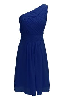 Dressystar One-shoulder Short Royal Blue Bridesmaid Dresses For Women Royal Blue Size 18W