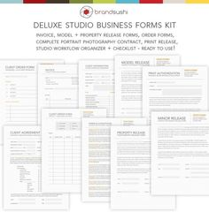 Deluxe Studio Business Forms Kit - Release, Invoice, Contract & Workflow Forms Document Templates for Photographers