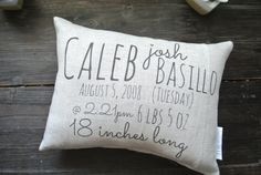 Custom Birth Stat Pillow, Custom Birth Pillow, Personalized Pillow, Baby Shower Gift, Personalized Baby pillow, Custom Baby Gift, Nursery