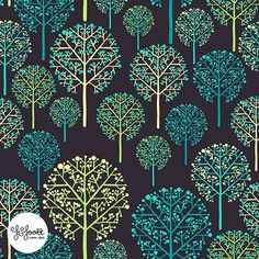 An almost lace-like forest pattern by Pattern Camper & Surface Pattern Designer Fi Foott. What an elegant pattern!