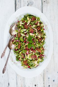 Shaved Brussels Sprout w/ Quinoa and Maple Pecans | KiranTarun.com