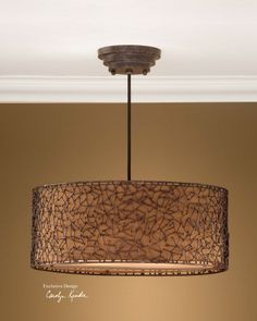 "Uttermost Lighting Brandon 3 light hanging shade 10"" H x 22"" Dia -- shade lining looks more red (""russet"") in person"
