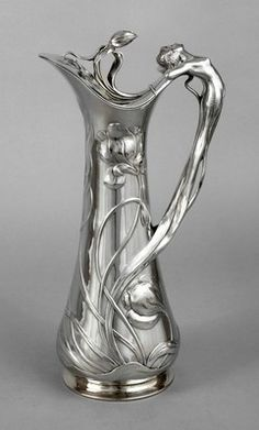 Magickal Ritual Sacred Tools: Art Nouveau Jugendstil silver-plated pitcher, Beautiful for filling a chalice or pouring a libation. Belle Epoque, Muebles Estilo Art Nouveau, Lampe Art Deco, Jugendstil Design, Bronze, Art Nouveau Design, Objet D'art, Vases, Love Art