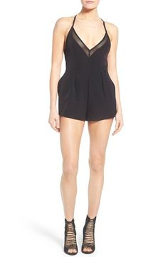 KENDALL + KYLIE Strappy Mesh Inset Romper available at #Nordstrom
