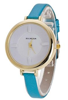 4f2d6a8542d Pretty Women Gold Dial Analog Watch Litchi Grain Leather Style Thin Band  Bracelet Watch Blue -