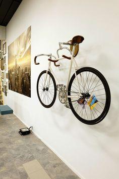 Fahrradhalter Wand Abstellständer weiss Holz