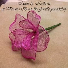 Wire Mesh Flower made by Kathryn at Verchiel Beads and Jewellery workshop. Mesh also available to purchase instore or online.  www.verchieljewellery.co.uk
