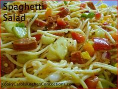 Tailgating/Game Day Recipes - Spaghetti Salad with Pepperoni and Pepperjack.