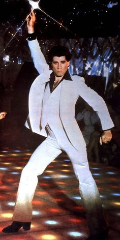 Dancefloor icon: The original John Travolta strut, 'Saturday Night Fever', 1977.