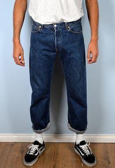 Levi's+501+Mens+Vintage+Jeans+W30+/+L30+Blue+90's