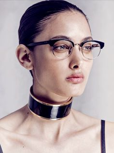 Balmain choker, Thom Browne glasses via Curve